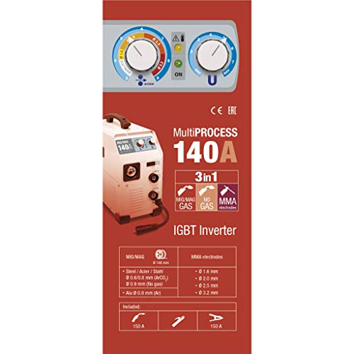 Gys - EASYMIG 140 - Poste à souder - Inverter - MIG/MAG - Ø0.6/0.8/0.9 mm - 230V - Livré avec pince de masse, torche Mig et porte électrode