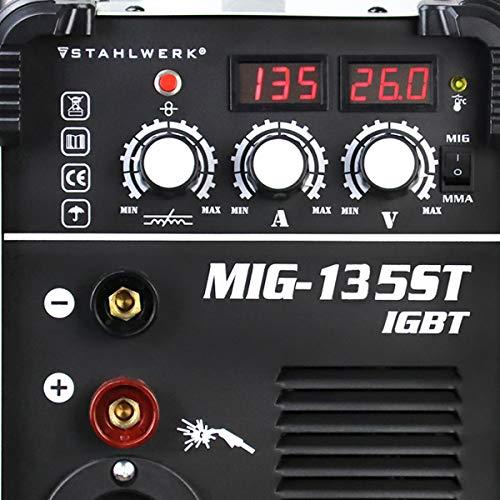 STAHLWERK MIG 135 ST IGBT - MIG MAG Machine à souder au gaz inerte avec 135 A, fil fourré FLUX, avec soudage manuel MMA, blanche, garantie de 7 ans
